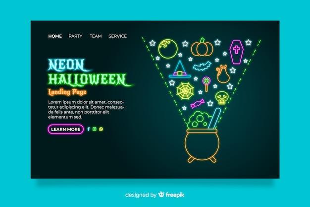 Pagina di destinazione al neon di halloween