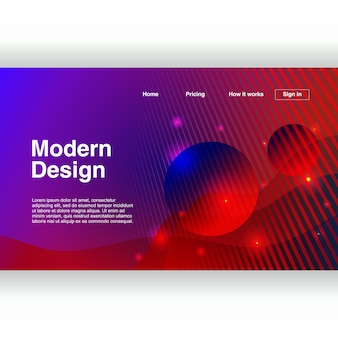 Pagina di destinazione alla moda con modello colorato design moderno