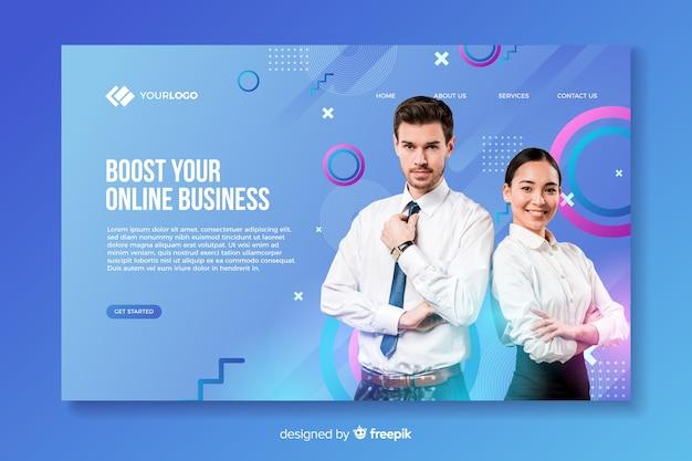 Pagina di destinazione aziendale con foto con uomo e donna
