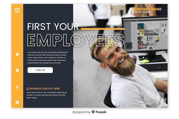 Pagina di destinazione aziendale con foto