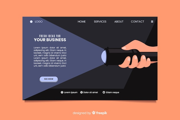 Pagina di destinazione aziendale di idee originali
