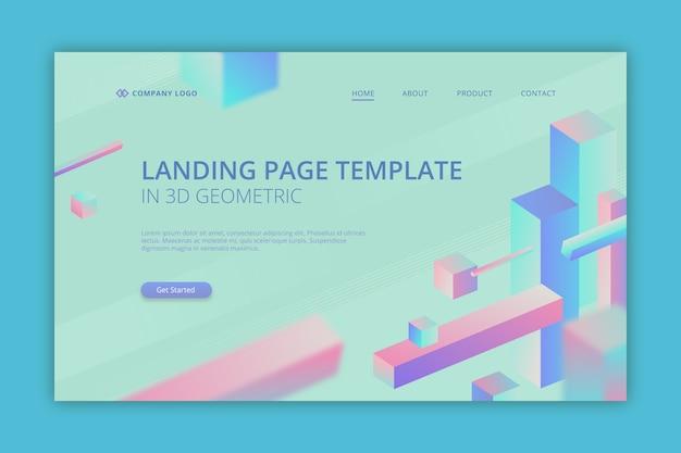 Pagina di destinazione aziendale in 3d geometrico