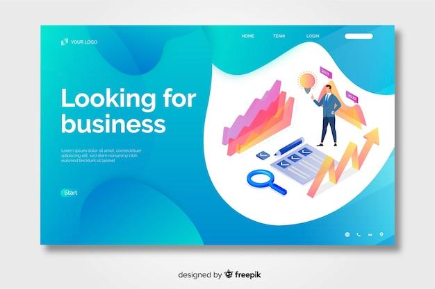 Pagina di destinazione aziendale isometrica con forme liquide