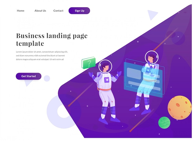 Pagina di destinazione business web astronauta