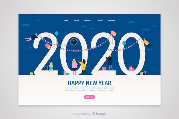 Pagina di destinazione capodanno design piatto