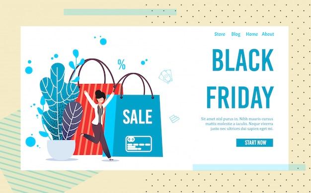 Pagina di destinazione che invita alla vendita online del black friday