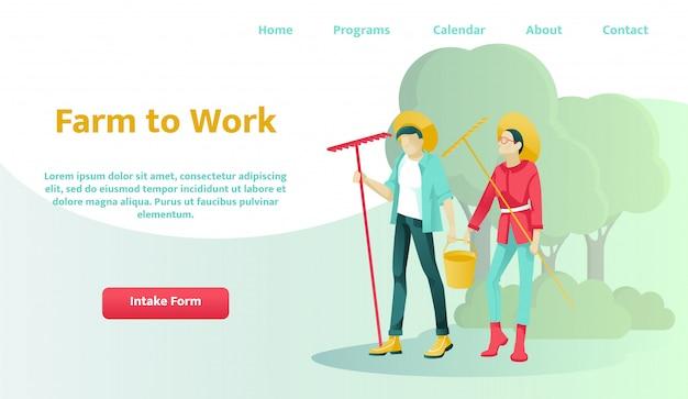 Pagina di destinazione che offre l'affitto o l'acquisto di farm to work