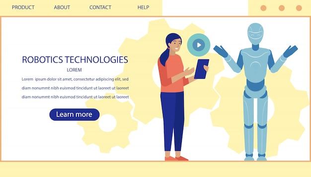 Pagina di destinazione che offre moderne tecnologie robotiche