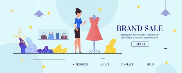 Pagina di destinazione che presenta la vendita del marchio di abbigliamento