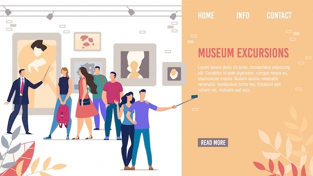 Pagina di destinazione che promuove le escursioni nei musei culturali