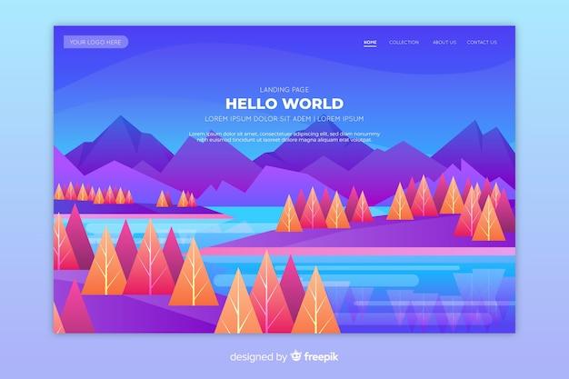 Pagina di destinazione con alberi colorati