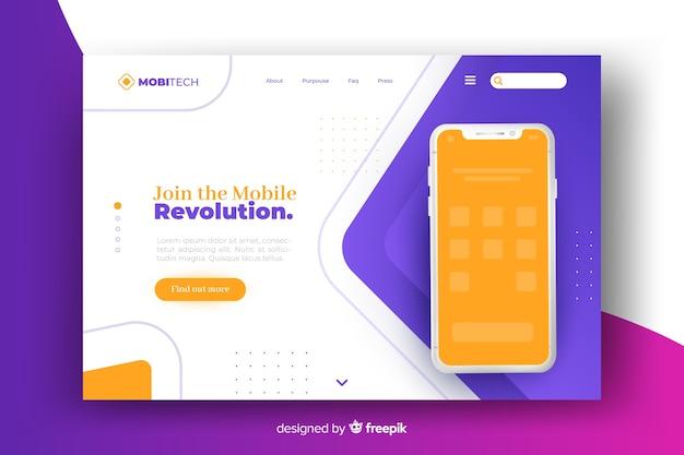 Pagina di destinazione con design del telefono per modello