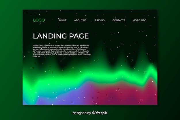 Pagina di destinazione con disegno di aurora boreale