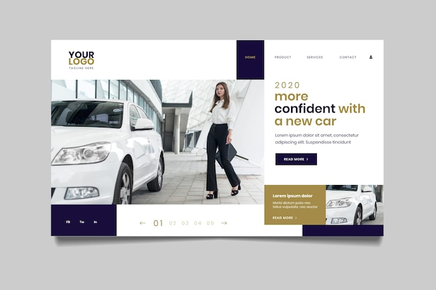 Pagina di destinazione con foto di donna accanto all'automobile