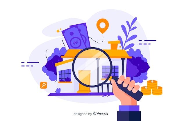 Pagina di destinazione con il concetto di ricerca della casa