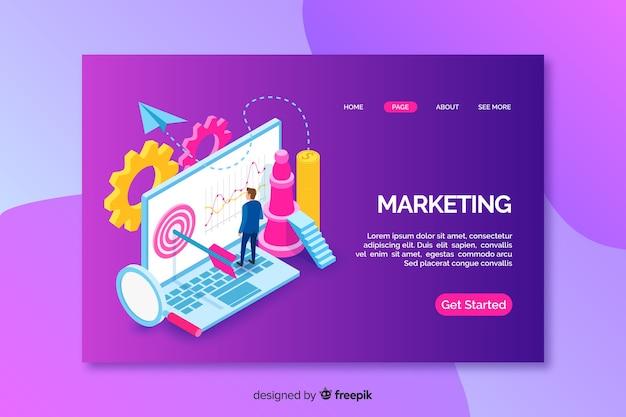 Pagina di destinazione con laptop marketing isometrico