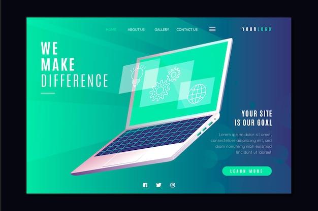Pagina di destinazione con laptop per modello di business