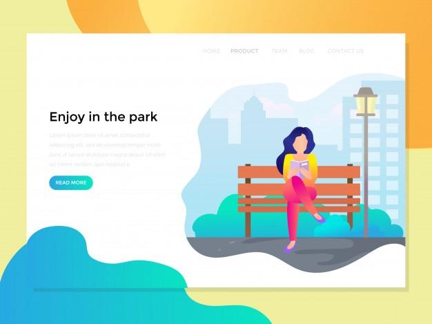 Pagina di destinazione con lettura donna al parco