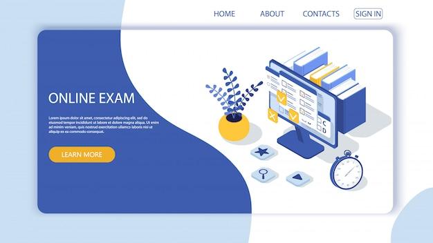 Pagina di destinazione con modello di progettazione per modulo di questionario, sondaggio di formazione online. applicazione web per computer esame online. istruzione, concetto di vettore di conoscenza.