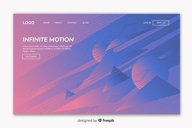 Pagina di destinazione con movimento infinito geometrico