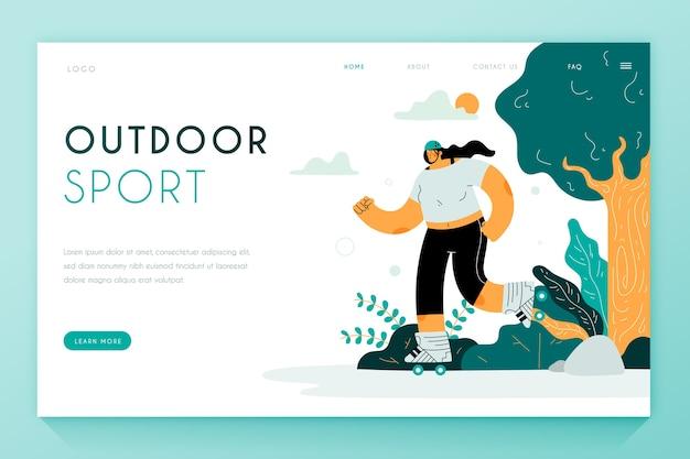 Pagina di destinazione con pattinaggio donna nel parco