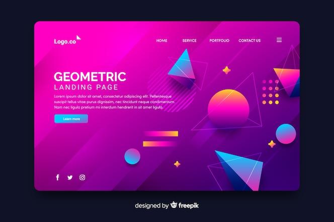 Pagina di destinazione con pezzi geometrici 3d