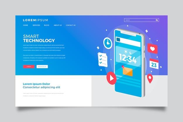 Pagina di destinazione con smartphone con gradiente