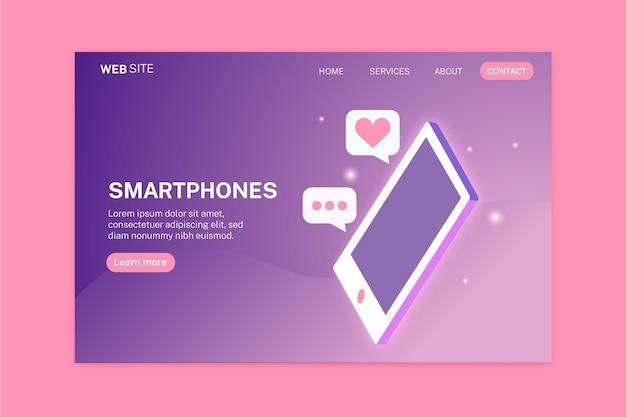 Pagina di destinazione con smartphone in due colori