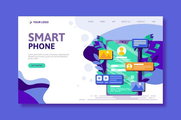 Pagina di destinazione con smartphone