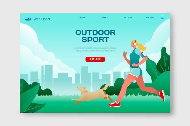 Pagina di destinazione con sport all'aria aperta