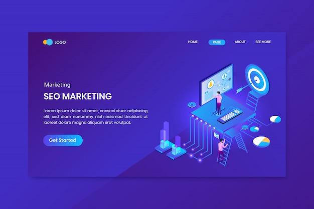Pagina di destinazione concetto isometrico marketing di destinazione