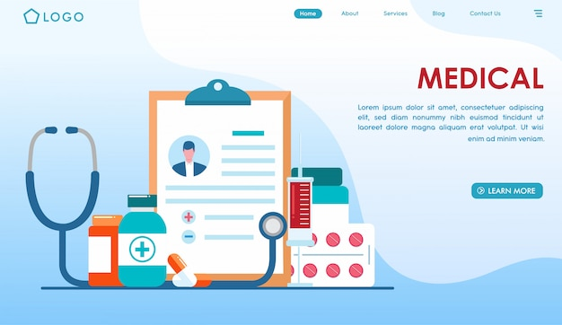 Pagina di destinazione controllo medico in stile piatto