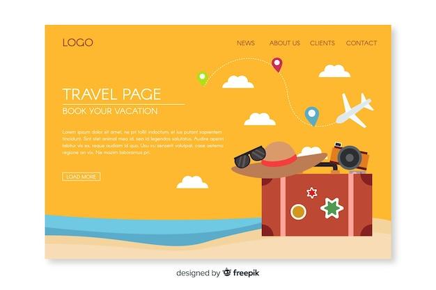 Pagina di destinazione degli elementi di viaggio piatti