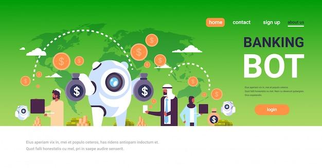 Pagina di destinazione del bot bancario con popolo arabo