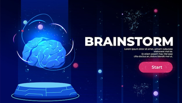 Pagina di destinazione del brainstorming, intelligenza artificiale
