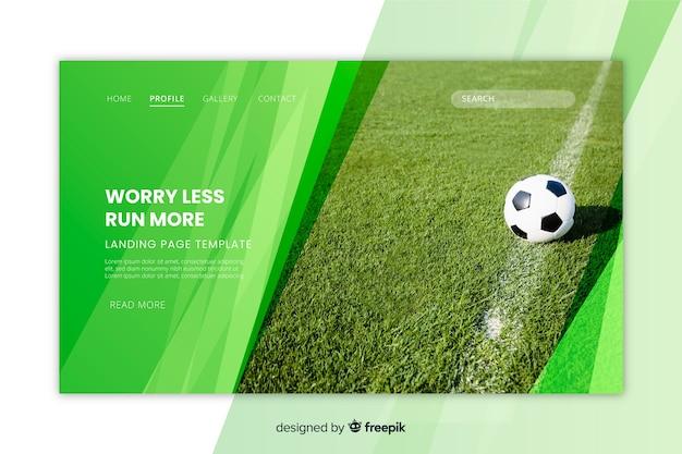 Pagina di destinazione del calcio con foto