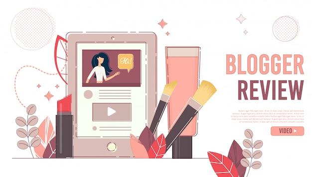 Pagina di destinazione del canale online di blogger review