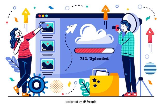 Pagina di destinazione del caricamento dell'immagine di concetto