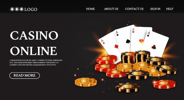 Pagina di destinazione del casinò di lusso con chip di carte da gioco