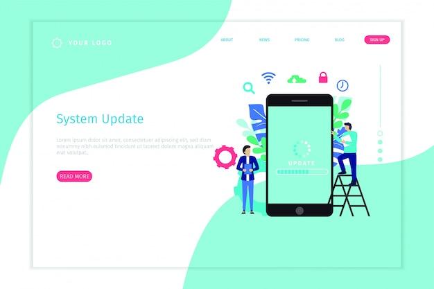 Pagina di destinazione del concetto dell'illustrazione di vettore dell'aggiornamento di sistema