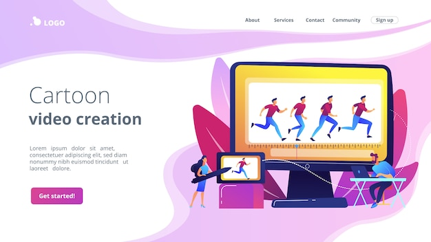 Pagina di destinazione del concetto di animazione al computer