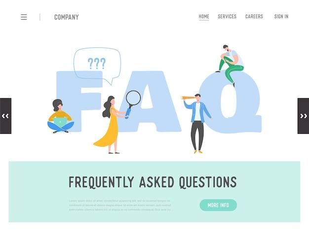 Pagina di destinazione del concetto di domande frequenti. metafora della risposta alla domanda. sfondo. personaggio dei cartoni animati piatto persone graphic design. banner modello, flyer, poster, pagina web