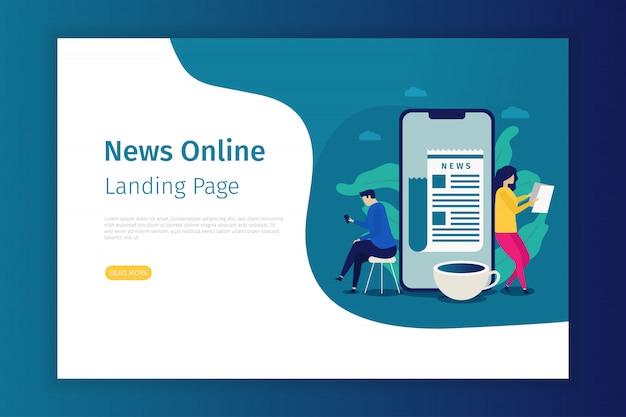 Pagina di destinazione del concetto di notizie per il sito
