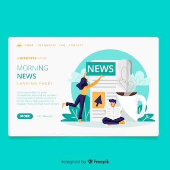 Pagina di destinazione del concetto di notizie