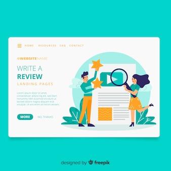 Pagina di destinazione del concetto di recensioni