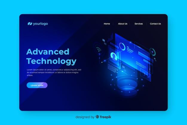 Pagina di destinazione del concetto di tecnologia avanzata