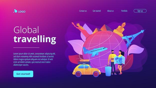Pagina di destinazione del concetto di viaggio globale.
