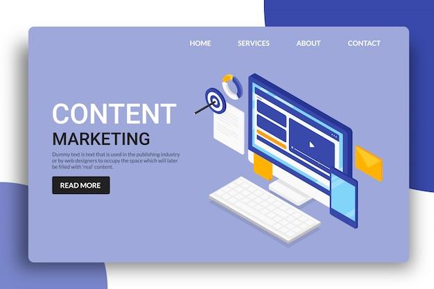 Pagina di destinazione del content marketing