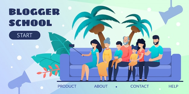 Pagina di destinazione del design della scuola di blogger per l'istruzione