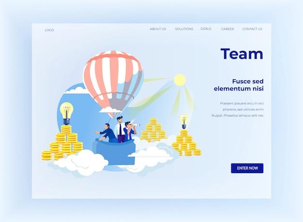 Pagina di destinazione del design di team building e coworking